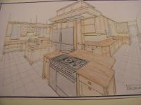 THÈME CUISINES, votre cuisiniste dessine ses plans de sol et perspectives  à la main sur calque